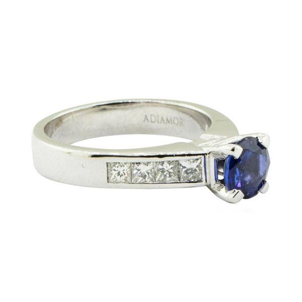 2.01 ctw Round Mixed Blue Sapphire And Diamond Ring - Platinum
