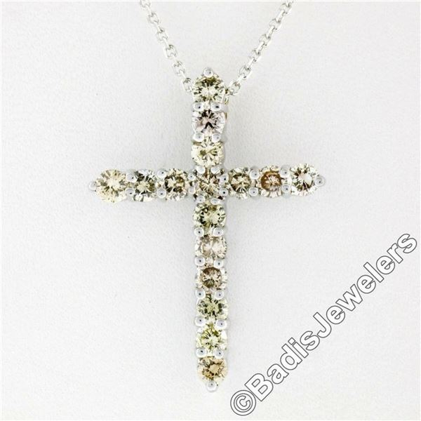 New 14kt White Gold 1.52 ctw Fancy Colored Round Diamond Cross Pendant Necklace