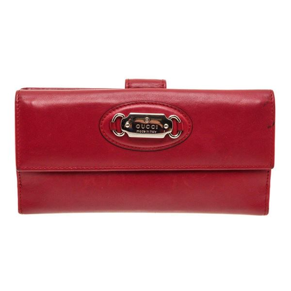 Gucci Red Leather Continental Wallet