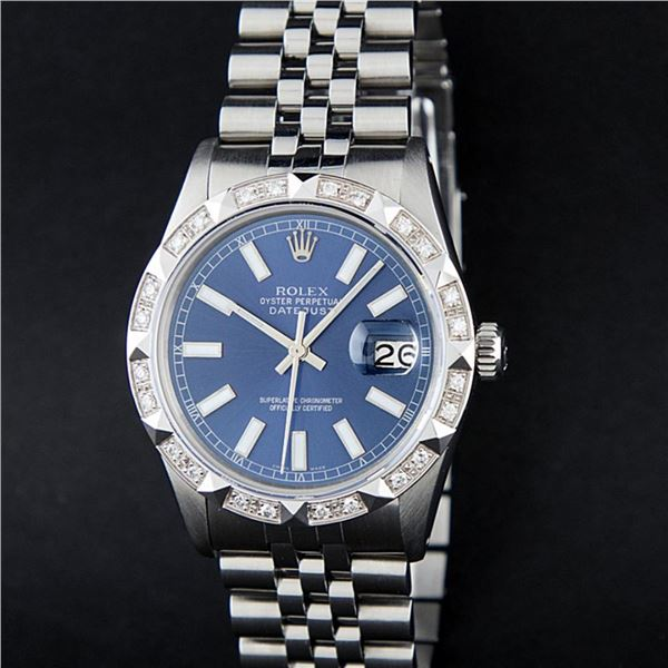 Rolex Stainless Steel 36MM Blue Index Diamond Oyster Perpetual Datejust Wristwat