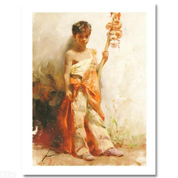 """""""The Young Peddler"""" Limited Edition Giclee by Pino (1939-2010). Numbered and Han"""