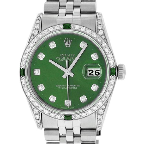 Rolex Mens Stainless Steel Diamond Lugs Green Diamond & Emerald Datejust