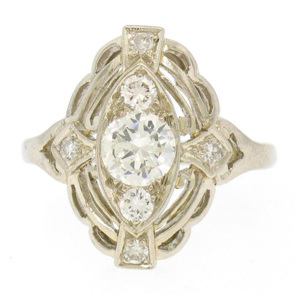 Art Deco 14k White Gold 0.85 ctw Diamond Large Open Work Cocktail Ring
