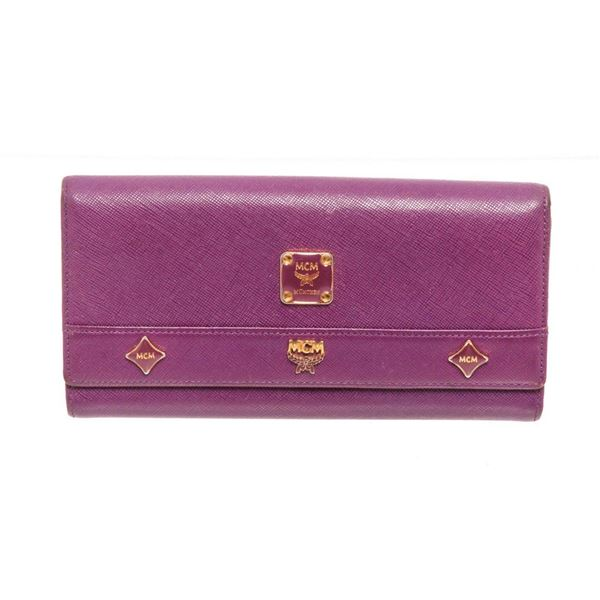 MCM Purple Leather Long Flap Wallet
