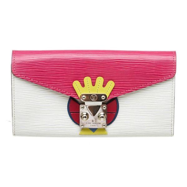 Louis Vuitton Pink Multicolor Epi Leather Tribal Mask Sarah Wallet