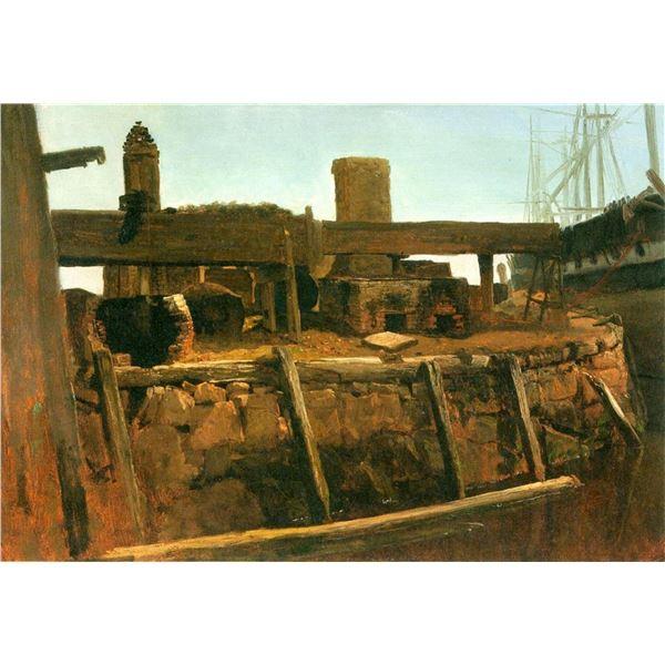 Boat at the Dock by Albert Bierstadt