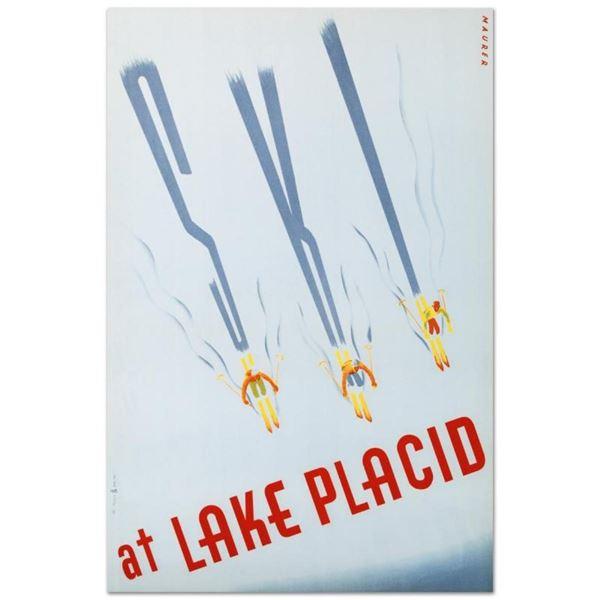 "RE Society, ""Ski at Lake Placid"" Hand Pulled Lithograph, Image Originally by Mau"