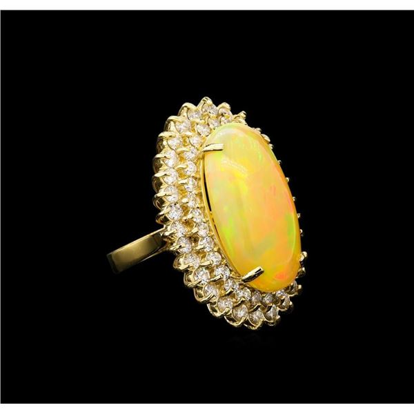 14.56 ctw Opal and Diamond Ring - 14KT Yellow Gold