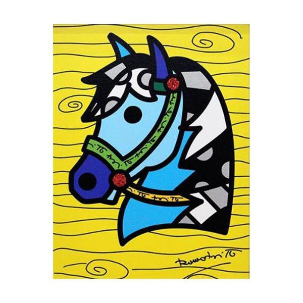 """Romero Britto """"Country Horse"""" Hand Signed Limited Edition Giclee on Canvas; Auth"""