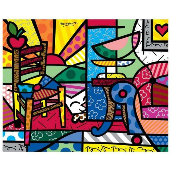 "Romero Britto ""New Squeaki Van Britto"" Hand Signed Giclee on Canvas; Authenticat"