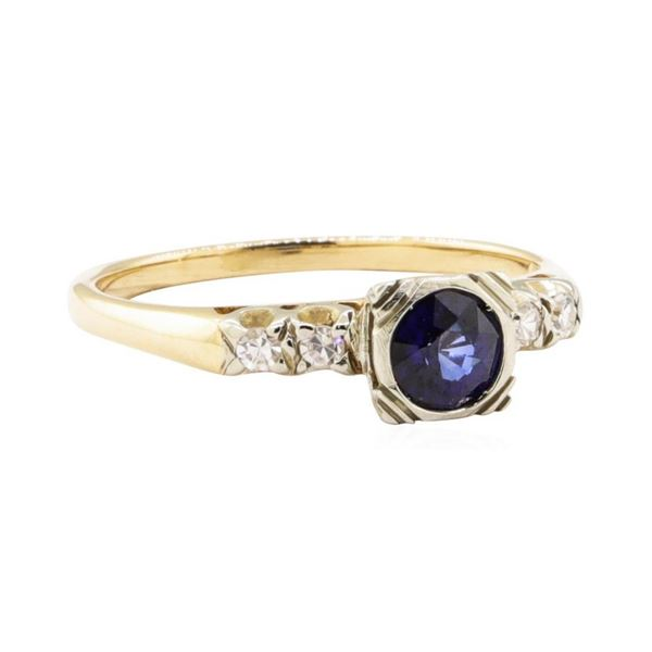 0.67 ctw Blue Sapphire and Diamond Vintage Ring - 14KT Yellow and White