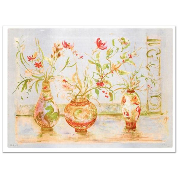 """""""Chinese Vase"""" Limited Edition Lithograph (42"""" x 29.5"""") by Edna Hibel (1917-2014"""