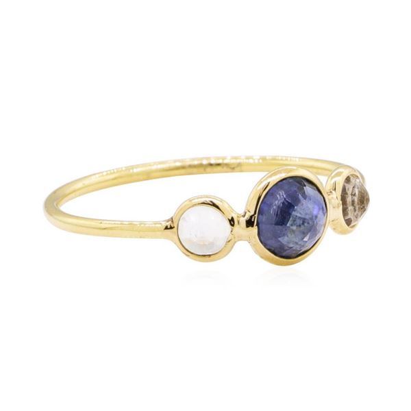 1.20 ctw Sapphire and Moonstone Ring - 18KT Yellow Gold