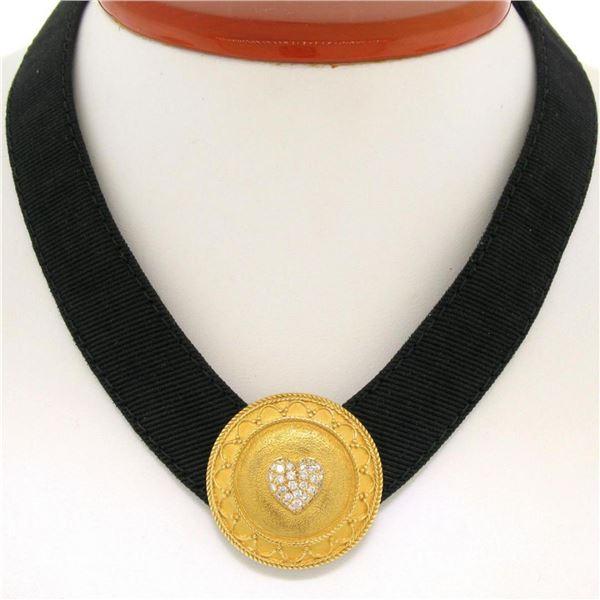 Stylish JAHAN 18K Gold Black Leather .50 ctw Diamond Heart Round Shield Necklace