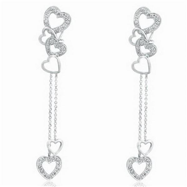 18k White Gold 0.32CTW Diamond Earrings, (I2 /J)