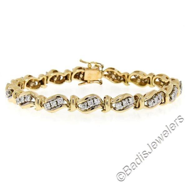 14kt Yellow and White Gold 1.80 ctw Diamond Wavy Link Tennis Bracelet