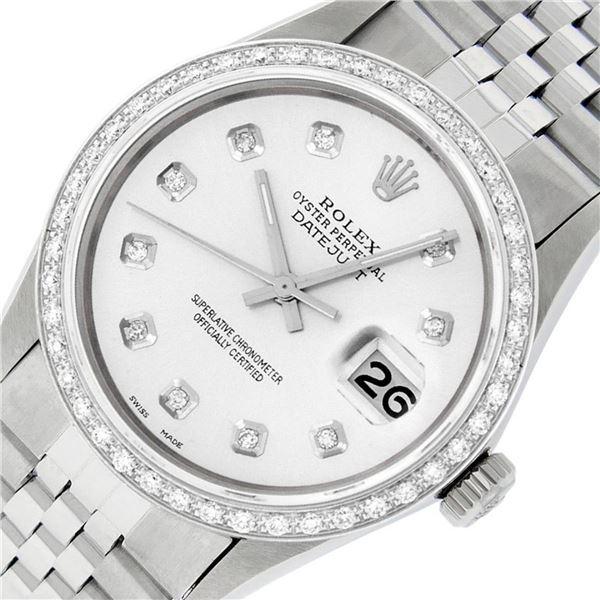 Rolex Mens Datejust 36 Stainless Steel Silver Diamond Oyster Datejust Wristwatch