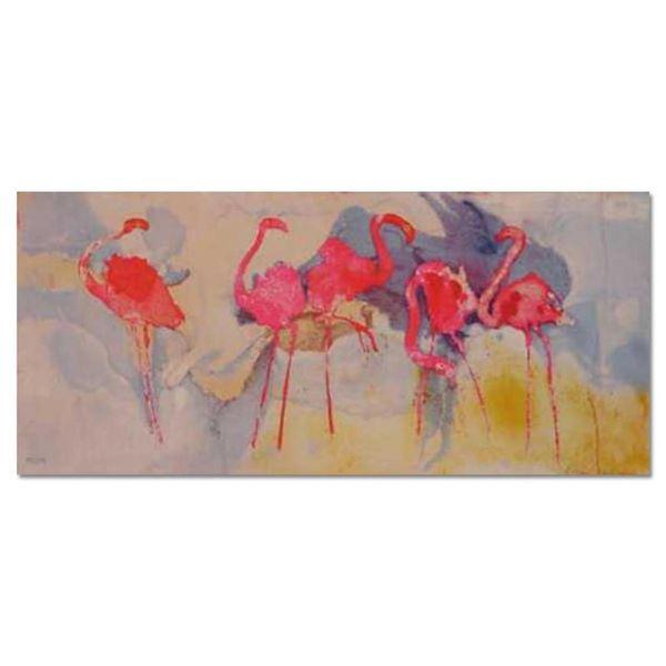 "Edwin Salomon, ""Flamingo Fantasia"" Hand Signed Limited Edition Serigraph with Le"