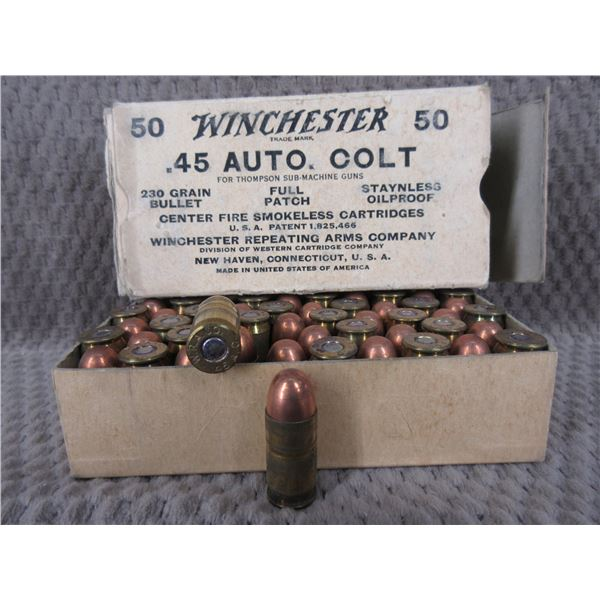 Collector Ammo - Winchester 45 Auto Colt for Thompson Sub-Machine Gun