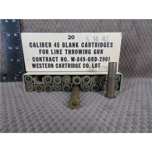 Collector Ammo - Western Cartridge Co. 45 Caliber Blanks for Line Throwing Gun