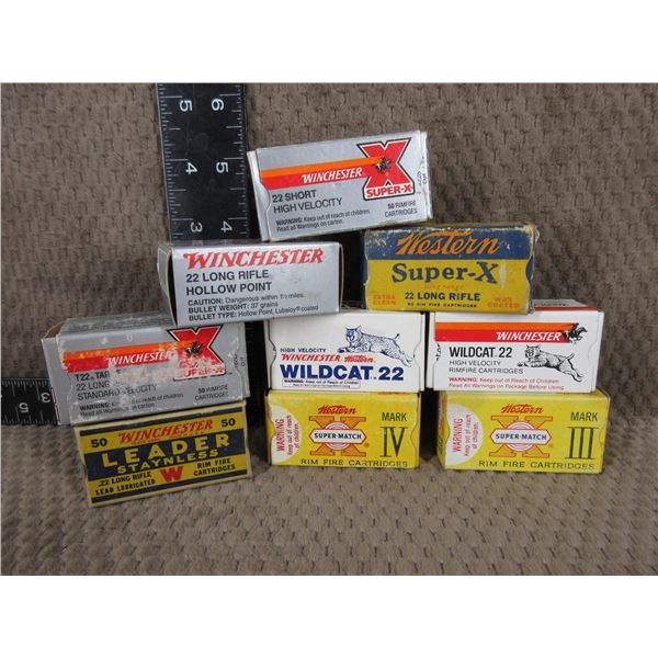Collection of Winchester 22 Shells 9 Boxes of 50
