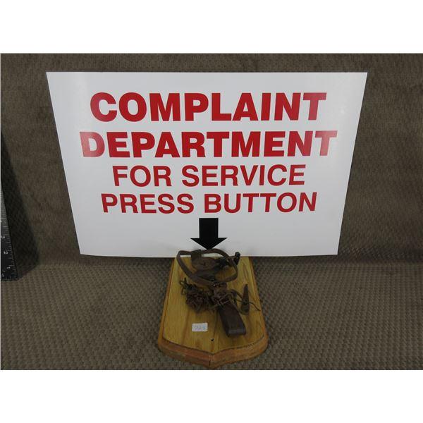 Complaint Dept for Service Press Button & Trap