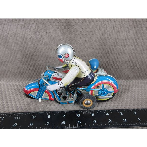 Vintage Harley Davidson Motorcycle with Side Car Tin Toy