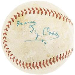 1950's Ty Cobb Single Signed Baseball