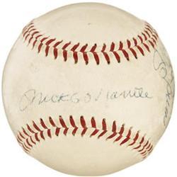 1956 Mantle, Larsen & Berra Signed Baseball