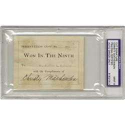 1910 Christy Mathewson Signed Book Plate