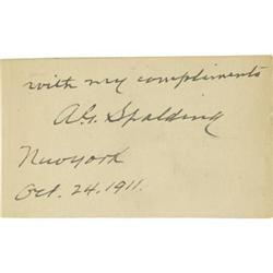 1911 Albert Spalding Signed Cut Signature