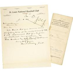 1919-20 Branch Rickey Signed Contract