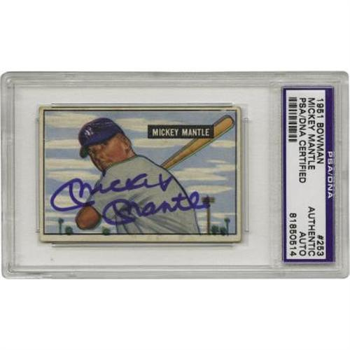 1951 Bowman Mickey Mantle 253 Card Signed