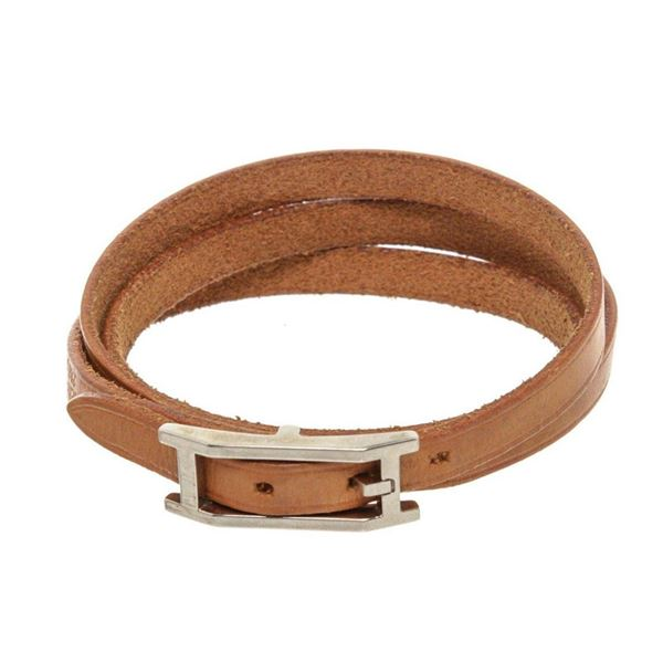 Hermes Natural Vachetta Leather Hapi 3 Multi Tour Bracelet