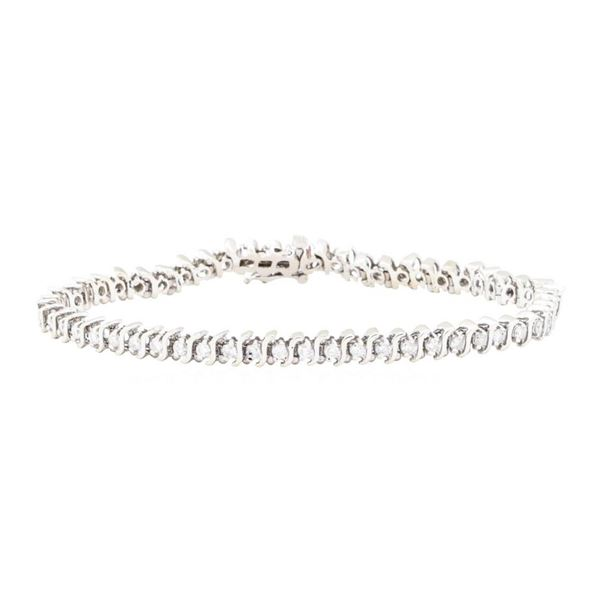 "2.05 ctw Diamond S Style Tennis Bracelet"" - 14KT White Gold"""