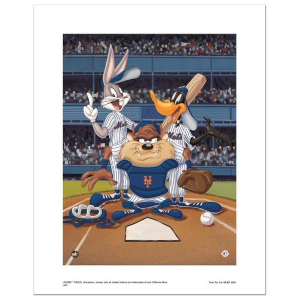 """""""At the Plate (Mets)"""" Numbered Limited Edition Giclee from Warner Bros. with Cer"""