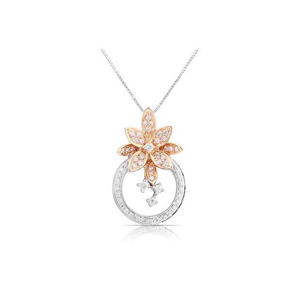 18k White/rose Gold 0.42CTW Diamond Pendant, (SI1-SI2/G-H)