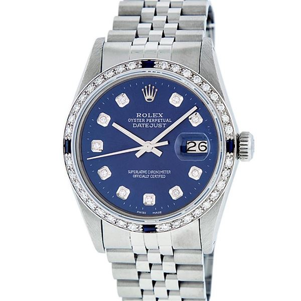 Rolex Mens Stainless Steel Blue Diamond & Sapphire Oyster Perpetual Datejust Wri
