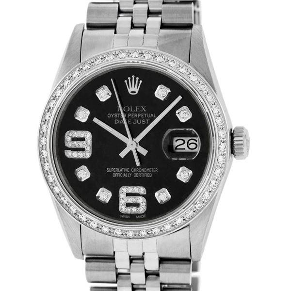Rolex Mens Black Diamond 36 Oyster Perpetual Datejust Serviced