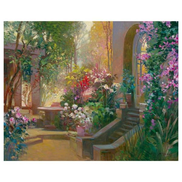"""Ming Feng, """"Sunlit Passage"""" Hand Embellished Limited Edition on Canvas, Numbered"""