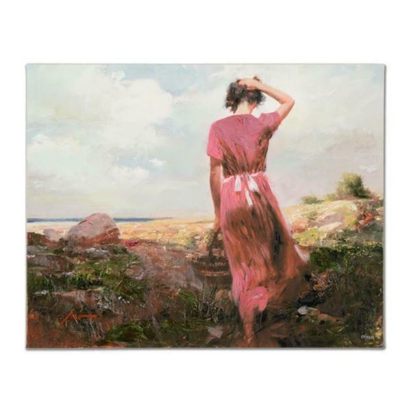 """Pino (1939-2010), """"Windy Day"""" Artist Embellished Limited Edition on Canvas, AP N"""