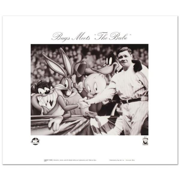 """""""Bugs Meets The Babe"""" is a Collectible Lithograph from Warner Bros., Bearing the"""
