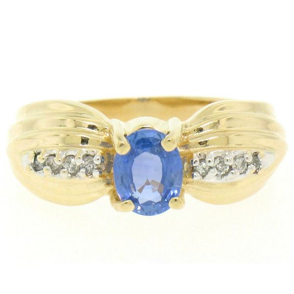 Ribbed 14k Yellow Gold 1.10 ctw Oval Tanzanite Solitaire & Round Diamond Ring