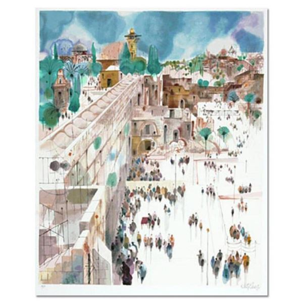 """Shmuel Katz (1926-2010), """"View to Mt. Zion"""" Hand Signed Limited Edition Serigrap"""