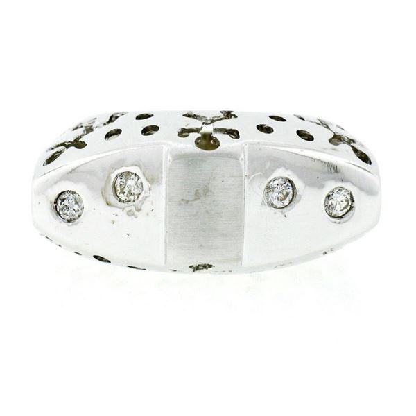 New 18kt White Gold 0.16 ctw Burnish Round Diamond Pierced Sides Band Ring