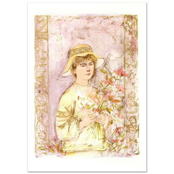 """""""Flora"""" Limited Edition Lithograph by Edna Hibel (1917-2014), Numbered and Hand"""