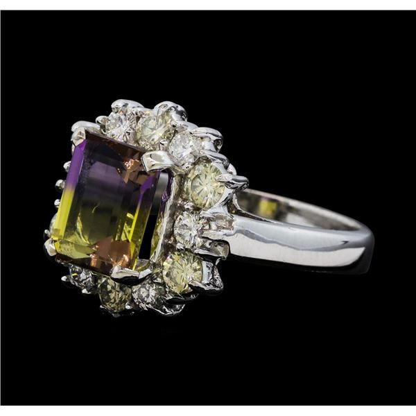 2.50 ctw Ametrine Quartz and Diamond Ring - 14KT White Gold