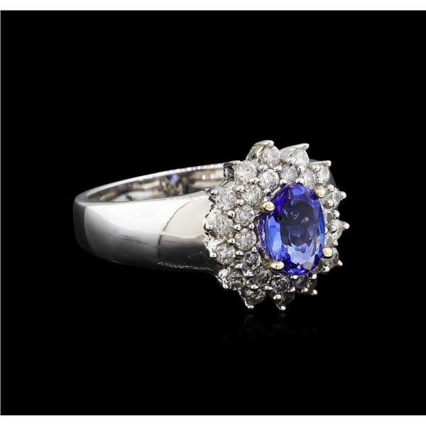14KT White Gold 0.83 ctw Tanzanite and Diamond Ring