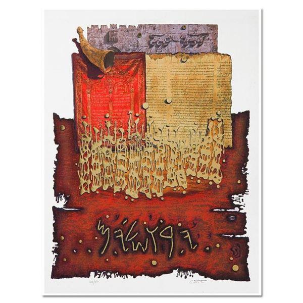 "Moshe Castel, ""Shofar above Lion's Gate"" Limited Edition Gold Embossed Serigraph"