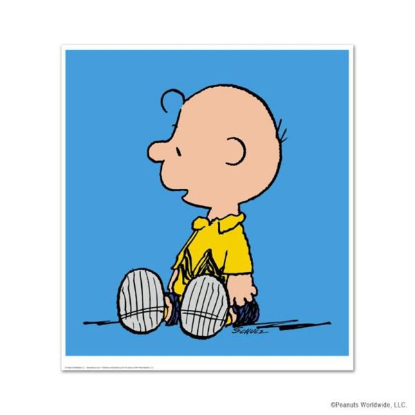 """Peanuts, """"Charlie Brown: Blue"""" Hand Numbered Limited Edition Fine Art Print with"""